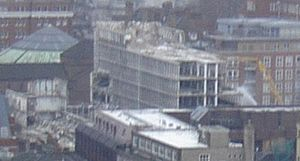 Marsham Towers - The northernmost tower undergoing demolition, January 30, 2003.