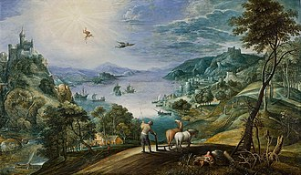 Martin Ryckaert - Landscape with a farmer plowing and the fall of Icarus