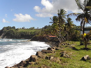Sainte-Marie, Martinique - Black sand beach at Sainte-Marie