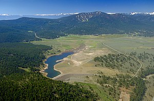 Nevada County, California - Martis Creek Lake and Dam at the southern end of Nevada County near Truckee. At full pool the lake extends into Placer County in the distance to the south.