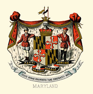 Seal of Maryland - The historical coat of arms of Maryland in 1876.