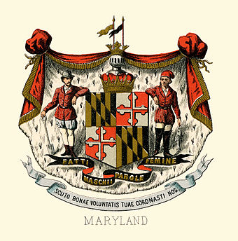 The historical coat of arms of Maryland in 1876. Maryland state coat of arms (illustrated, 1876).jpg