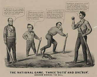 John Bell (Tennessee politician) - Louis Maurer cartoon depicting the 1860 presidential election as a baseball game; L to R: Bell, Douglas, Breckinridge, and Lincoln