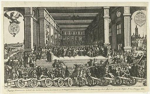 Maurits ontvangt kousenband 1613