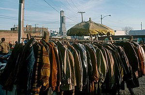 Maxwell Street - Coats for sale in the Maxwell Street Market in 1987