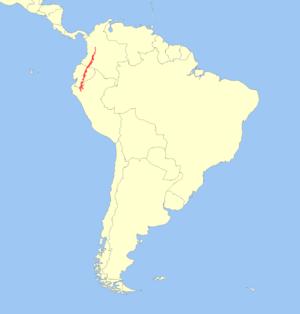 Little red brocket - Image: Mazama rufina distribution