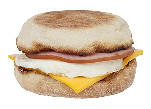 Bacon, egg and cheese sandwich - McDonald's Egg McMuffin, a bacon, egg and cheese sandwich using Canadian bacon