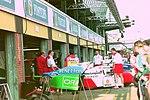 Mclaren and Benetton pits at the 1994 British Grand Prix (32500349936).jpg