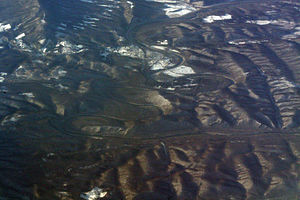 Paw Paw, West Virginia - Meanders in the Potomac River with Paw Paw just above center.