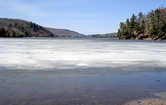 Meech Lake - View from O'Brien Beach at the south-east end coast in winter