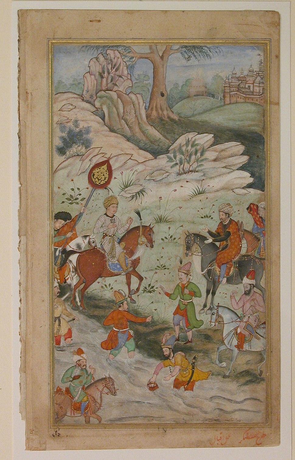 Meeting between Babur and Sultan 'Ali Mirza near Samarqand