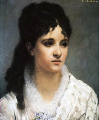 Mélanie Bonis - Mel Bonis at age 17, painting by Charles-Auguste Corbineau (1885).
