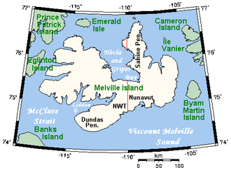 Melville Island (Northwest Territories and Nunavut) - Closeup of Melville Island