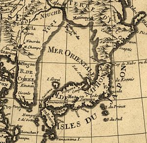 Sea of Japan naming dispute - A 1700 French map describing the sea as Mer Orientale (Eastern Sea or Oriental Sea).