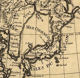 Sea of Japan naming dispute - A 1700 French map describing the sea as Mer Orientale (Eastern Sea or Oriental Sea).