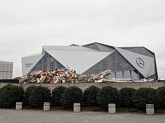 Georgia Dome - The remains of Georgia Dome with the Mercedes-Benz Stadium in the background.