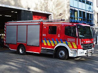 Fire engine - Conventional Mercedes-Benz pumper of the Antwerp, Belgium fire brigade.