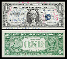 A 1957-A $1 Silver certificate short-snorter flown on Freedom 7 by Alan Shepard.