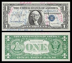 NASA space-flown Gemini and Apollo medallions - Image: Mercury Redstone 3 (Freedom 7) Flown One Dollar Bill