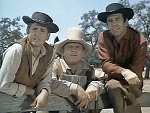 Cropped screenshot of Michael Landon, Dan Bloc...