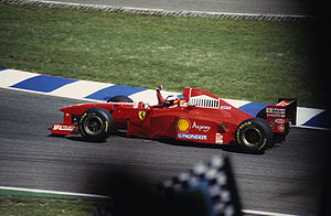 Michael Schumacher driving for Ferrari at the ...