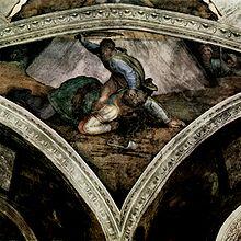 Davide in procinto di tagliare la testa al cadavere di Golia, in un dipinto di Michelangelo.