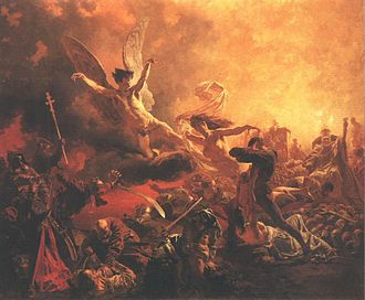 "Antimilitarism - Mihály Zichy painting ""The Victory of the Genius of Destruction"", made for Paris Exposition of 1878,  was banned by French authorities because of its daring antimilitarist message."