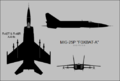 Mikoyan-Gurevich MiG-25P three-view silhouette.png