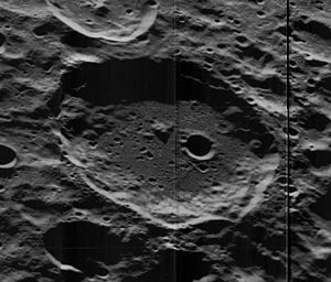 Millikan (crater) - Oblique Lunar Orbiter 5 image, facing west