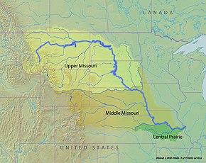 Mappa che mostra i tre ecoregioni d'acqua dolce del bacino del fiume Missouri