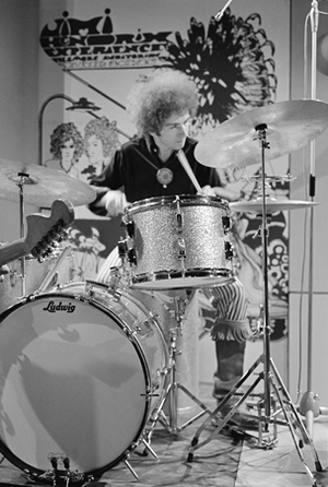 Mitch Mitchell - Mitchell performing with the Jimi Hendrix Experience for Dutch television show Hoepla in 1967