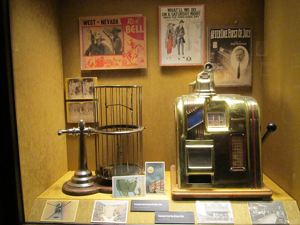 Mob Museum exhibit showing an early slot machine.