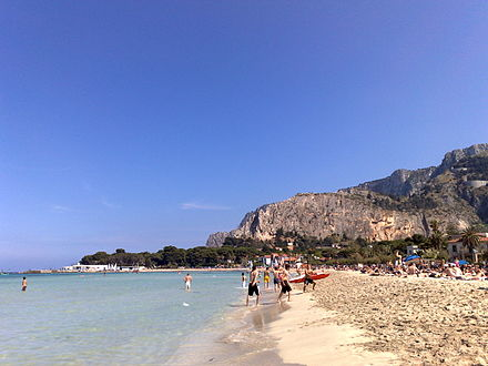 The Mondello Beach, one of the main tourist destinations