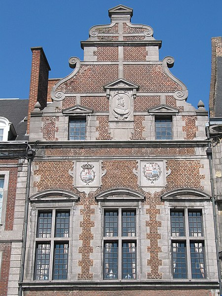 Mons (Belgium), Grand-Place - Façade of the old St. Georges chapel (XVIIth century).