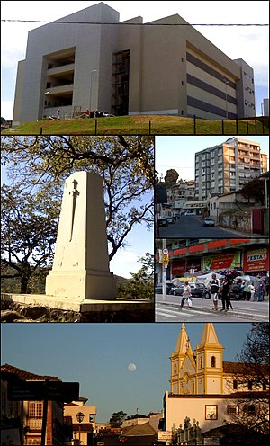 Santa Luzia, Minas Gerais - Top:Santa Luzia Administrative Office, Middle left:A monument of 1842 Liberal Revolution, Middle upper right:Floriano Peixoto Street, Middle lower right:Brasilia Avenue, shopping area, Bottom:Direita Street and Santa Luzia Cathedral