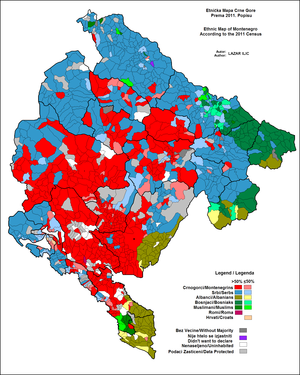 Multinational state - A map showing the predominant ethnic group in each municipality of Montenegro as of 2011.
