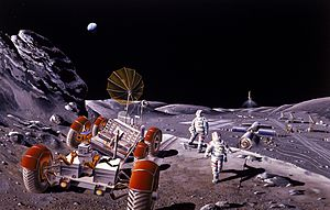 This artist's concept of a lunar base and extr...