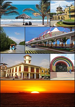 Top left: Punta Sal Beach (Playa Punta Sal), Top right: Tumbes Cathedral, 2nd left: Tumbes River and Tumbes National Reserve Mangrove Sanctuary, 2nd right: Malecon Benavides, 3rd left: A Condor monument and Tumbes Clock Tower in Jerusalem Walks (Paseo Jerusalem), 3rd right: Armas Square (Plaza del Armas), Bottom: Sunset in Pizarro Port