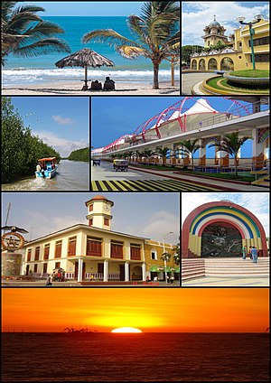 Tumbes, Peru - Top left:Punta Sal Beach (Playa Punta Sal), Top right:Tumbes Cathedral, 2nd left:Tumbes River and Tumbes National Reserve Mangrove Sanctuary, 2nd right:Malecon Benavides, 3rd left:A Condor monument and Tumbes Clock Tower in Jerusalem Walks (Paseo Jerusalem), 3rd right:Armas Square (Plaza del Armas), Bottom:Sunset in Pizarro Port