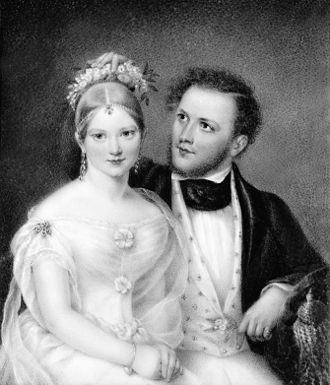 Samuel Cutler Ward - Ann Hall, Mr. and Mrs. Samuel Ward (Emily Astor), 1837. Miniature on ivory, 5 1/2 x 4 1/2 in. Private collection, Barrytown, New York