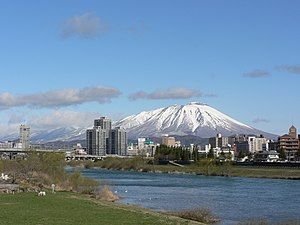Mt. Iwate and Morioka City.