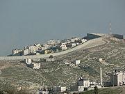 Mur de séparation à Jérusalem est, vu depuis la Vieille Ville. Haut de huit mètres, il isole Jérusalem de la Cisjordanie.