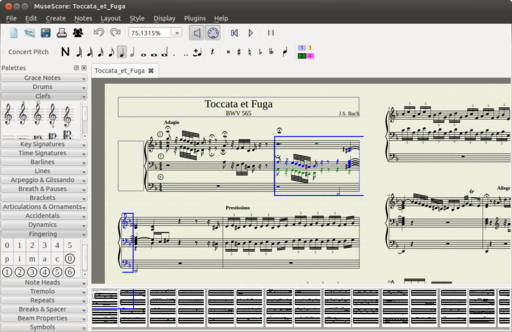 MuseScore 1.2 running on Ubuntu