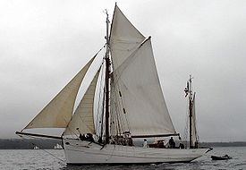 This is a yawl with the short mast aft, which also demonstrates the two foresails of a cutter rig.