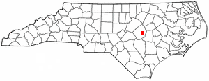 Pine Level, Johnston County, North Carolina - Image: NC Map doton Pine Level