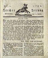 Voorpagina van de eerste editie van de Neue Zürcher Zeitung