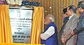 Narendra Modi unveiling the plaque to lay the foundation stone for the 4-laning of sections of NH 44, at Chanderkote, Ramban, in Jammu and Kashmir. The Union Minister for Road Transport & Highways and Shipping.jpg
