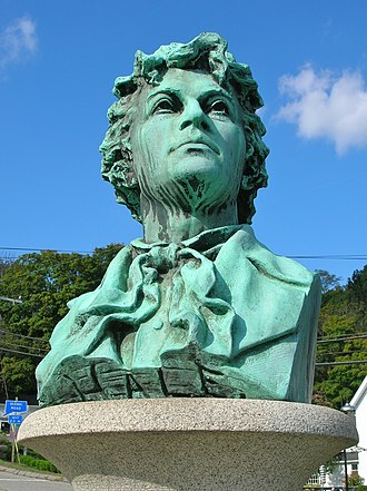 East Haddam, Connecticut - Bust of Nathan Hale located in the center of town.