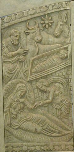 Representation of the Nativity on the Throne of Maximianus in Ravenna Nativity (Throne of Maximianus).jpg