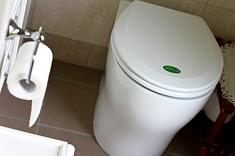 Composting toilet - This is the pedestal for a split-system composting toilet where collection/treatment chambers are located below the bathroom floor.